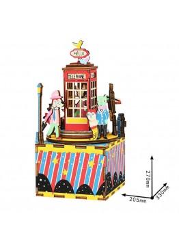 Музыкальная шкатулка конструктор DIY Music Box Телефонная будка Phone Booth